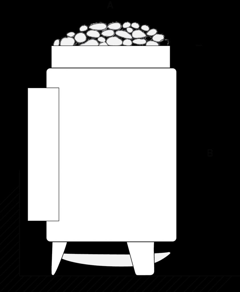 Veto-sähkökiuas - tekniset tiedot - mitat korkeus halkaisija sivulta