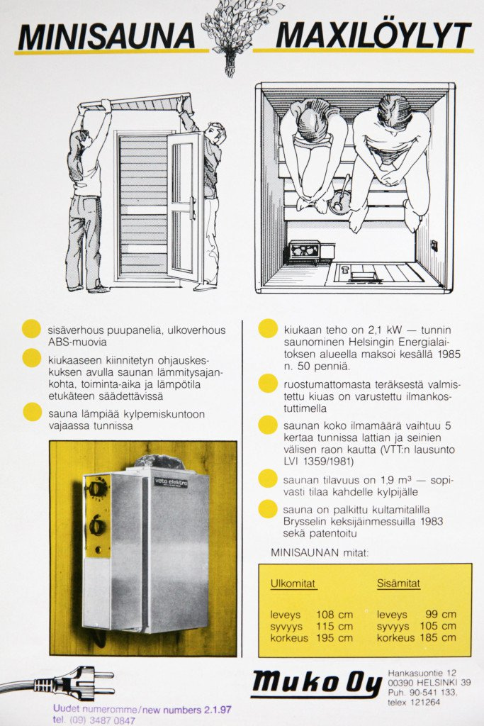 Veto mini sauna - Our story - Old brochure from 80s
